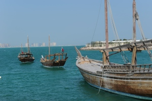 old dhows in the harbor