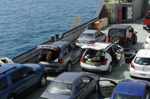 cars in rows on the ferry