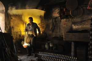 at a bronze foundry