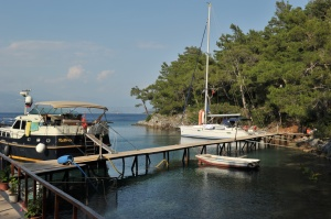 our boat at mooring - stern to land...a first for us